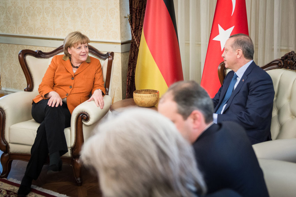 Chancellor Angela Merkel and Turkish Prime Minister Recep Tayyip Erdogan during their talks