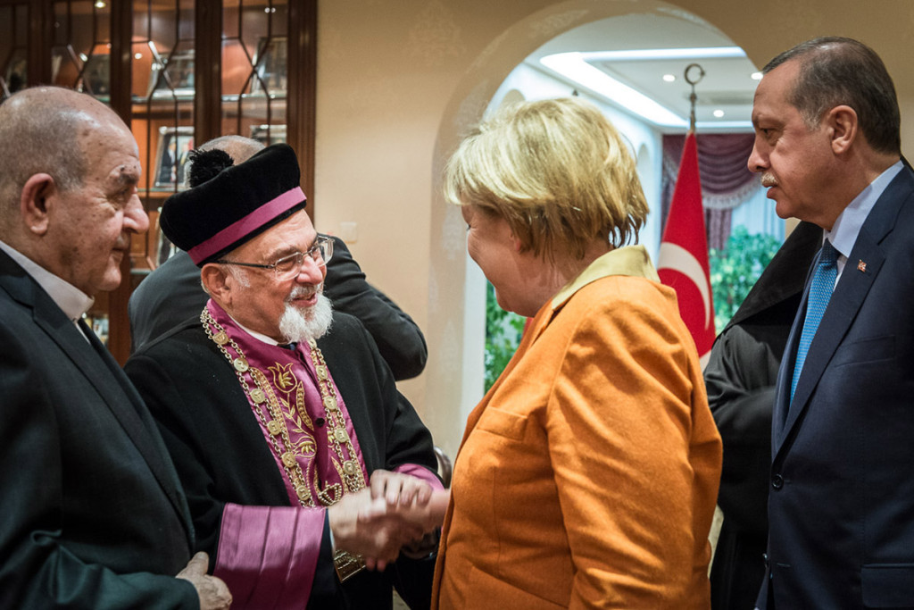Angela Merkel and the Turkish Prime Minister Recep Tayyip Erdogan during their meeting with representatives of Turkish religious communities at the Prime Minister's residence