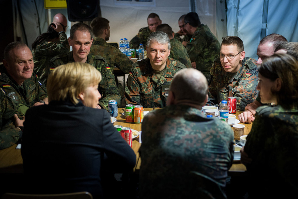 Chancellor Angela Merkel talks to German troops stationed in Kahramanmaras to man the Patriot Systems.