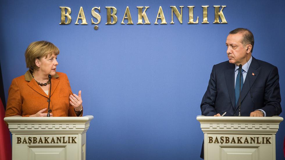 Chancellor Angela Merkel and the Turkish Prime Minister Recep Tayyip Erdogan