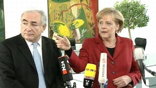 Dominique Strauss-Kahn und Angela Merkel