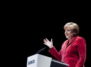Angela Merkel at a Daimler lectern