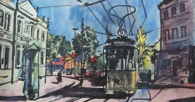 Bernhard Kretschmar,Tram, undated watercolour. This is one of the 25 works discovered in Munich that have been listed in the lost art database since 11 November.