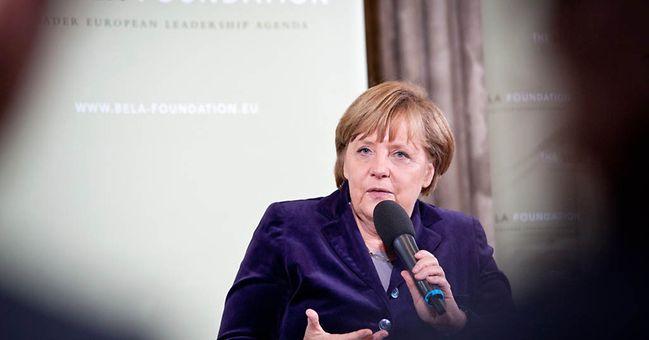 Bundeskanzlerin Merkel während der Diskussion
